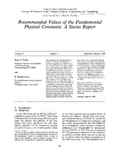 Recommended values of the fundamental physical ... - NIST Page