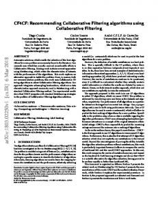 Recommending Collaborative Filtering algorithms using ... - arXiv