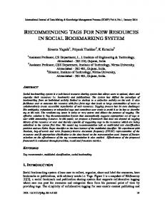 recommending tags for new resources in social ... - Aircc Digital Library