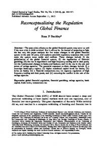 Reconceptualizing the Regulation of Global Finance