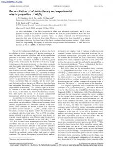 Reconciliation of ab initio theory and experimental elastic properties of ...