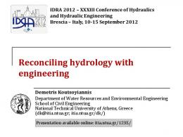 Reconciling hydrology with engineering - ITIA