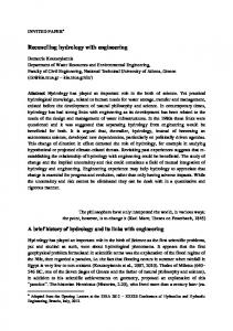 Reconciling hydrology with engineering