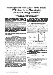 Reconfiguration Techniques of Partial Shaded PV Systems for the ...