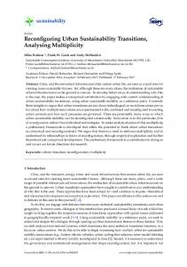 Reconfiguring Urban Sustainability Transitions ... - Research Explorer