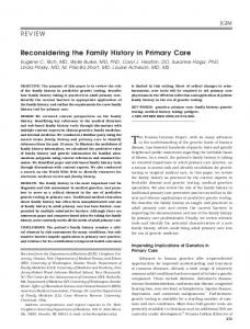 Reconsidering the Family History in Primary Care - Wiley Online Library