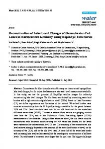 Reconstruction of Lake Level Changes of Groundwater-Fed ... - MDPI
