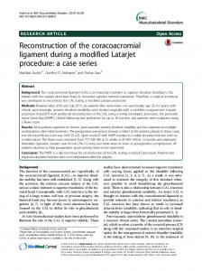 Reconstruction of the coracoacromial ligament ... - Semantic Scholar