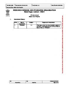 RECORD OF CORRECTIVE AND PREVENTIVE ACTION - rdso