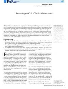 Recovering the Craft of Public Administration - Wiley Online Library