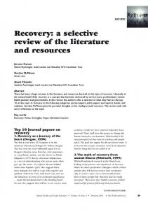 Recovery: a selective review of the literature and resources - Esec