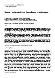 Recovery and reuse of water from effluents of cooling tower