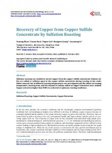 Recovery of Copper from Copper Sulfide Concentrate by Sulfation ...
