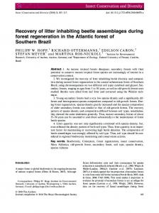 Recovery of litter inhabiting beetle assemblages ... - Wiley Online Library