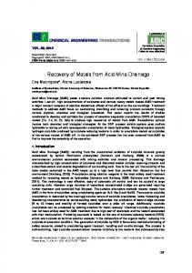 Recovery of Metals from Acid Mine Drainage - aidic