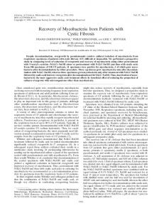 Recovery of Mycobacteria from Patients with Cystic Fibrosis