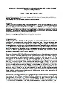 Recovery of Polyhydroxyalkanoates (PHAs) from Mixed ... - CiteSeerX