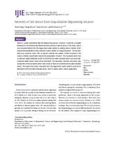 Recovery of Silk Sericin from Soap-Alkaline ...