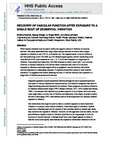 RECOVERY OF VASCULAR FUNCTION AFTER EXPOSURE TO A ...
