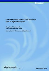 Recruitment and Retention of Academic Staff in Higher Education