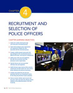 RECRUITMENT AND SELECTION OF POLICE OFFICERS