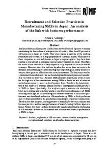 Recruitment and Selection Practices in Manufacturing SMEs in Japan ...