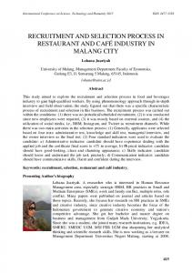 RECRUITMENT AND SELECTION PROCESS IN RESTAURANT AND ...