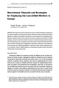 Recruitment Channels and Strategies for Employing the Low-skilled ...