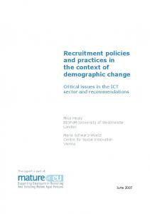 Recruitment policies and practices in the context of demographic change