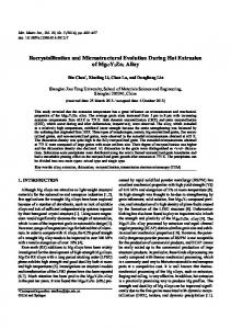 Recrystallization and Microstructural Evolution During ... - Springer Link
