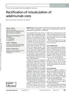 Rectification of miscalculation of adalimumab costs