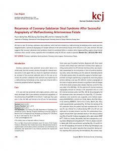 Recurrence of Coronary-Subclavian Steal ... - KoreaMed Synapse