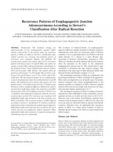 Recurrence Patterns of Esophagogastric Junction Adenocarcinoma ...