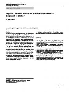 recurrent dislocation is different from habitual dislocation of patella