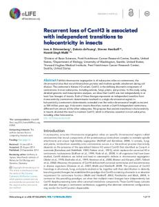 Recurrent loss of CenH3 is associated with