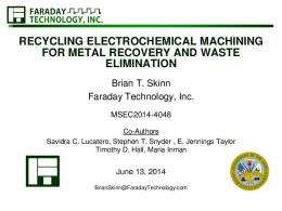 recycling electrochemical machining for metal ...