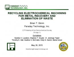 recycling electrochemical machining for metal recovery and ...