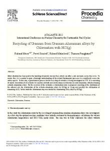Recycling of Uranium from Uranium-Aluminium alloys by ... - Core