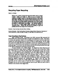 Recycling Paper Recycling - BioResources