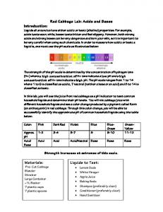 Red Cabbage Lab: Acids and Bases Introduction: Liquids to Test ...