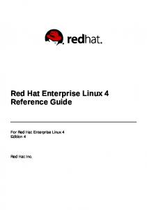 Red Hat Enterprise Linux 4 Reference Guide