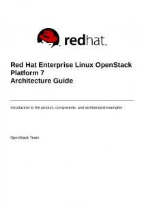 Red Hat Enterprise Linux OpenStack Platform 7 Architecture Guide