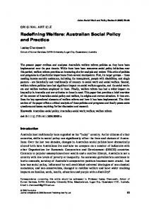 Redefining Welfare: Australian Social Policy and ... - Griffith University