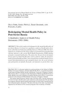 Redesigning Mental Health Policy in Post-Soviet Russia