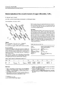 Redetermination of the crystal structure of copper ...