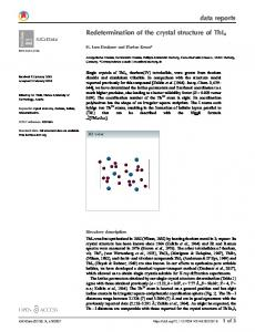Redetermination of the crystal structure of ThI4 - IUCr Journals