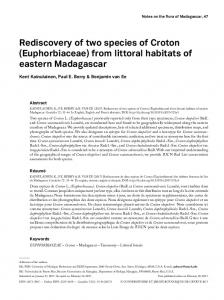 Rediscovery of two species of Croton (Euphorbiaceae) from ... - BioOne