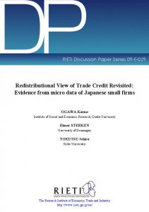 Redistributional View of Trade Credit Revisited: Evidence from Micro ...