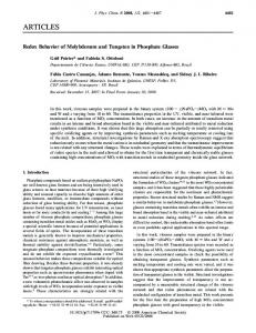 Redox Behavior of Molybdenum and Tungsten in Phosphate Glasses