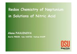 Redox Chemistry of Neptunium in Solutions of Nitric Acid - ACSEPT